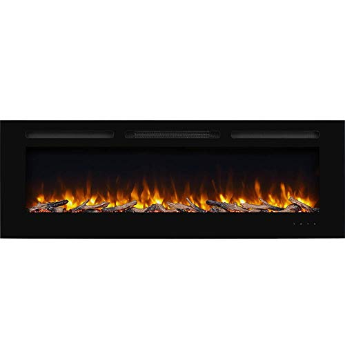 PuraFlame Alice 60 Inches Recessed Electric Fireplace, Wall Mounted for 2 X 6 Stud, Log Set & Crystal, 1500W Heater, Black