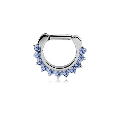 Bubble Body Jewelry Surgical Steel Round Prong Set Crystal Jeweled Hinged Septum Clicker Ring 1.6mm Gauge 14g 1/16 -