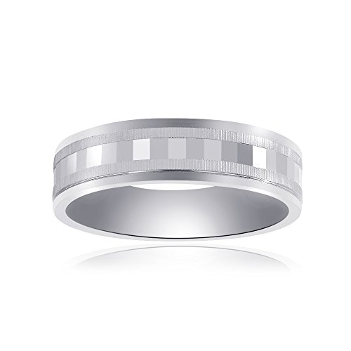 Avital & Co. 6.0mm 14K White Gold Mens Band with A Textured Center