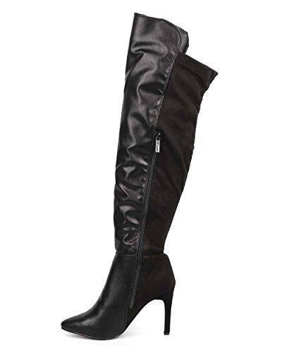Breckelles Breckelles De71 Femmes Au Dessus Du Genou Bout Pointu Seule Semelle Stiletto - Noir