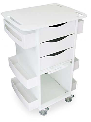 "TrippNT 51007 Polyethylene Core DX Multi-Tasking Deluxe Locking Medical Cart with Clear PETG Door, 150 lbs capacity, 23"" Width x 35"" Height x 19"" Depth, 6 Shelves"