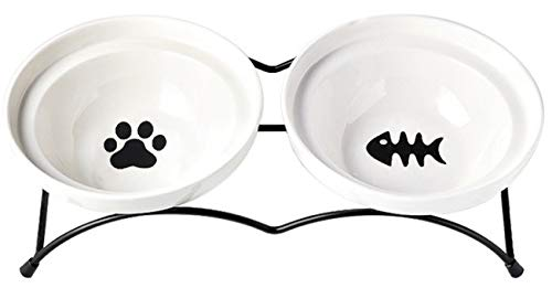 Jyipsonm Cat Bowls Elevated Cat Food Water Bowls Raised Cat Bowls with Stand Ceramic Pet Dishes for Cats and Small Dogs…