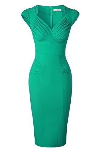 Newdow Lady's 50s Vintage V-Neck Capsleeve Pencil Dress (Medium, Green) ()