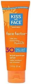 Kiss My Face Face Factor Sunscreen SPF 30 Sunblock for Face and Neck, 2 oz