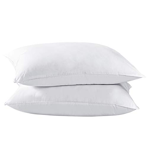 Dreamhood Down and Feather Pillows for Stomach Sleepers,Soft Bed Pillows for Neck and Shoulder Pain Relief Standard Size (2 Pack)