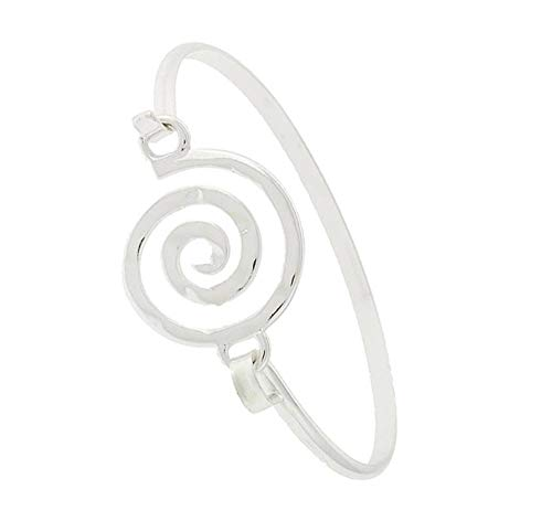 ((Gift Boxed) ST Collection Women's Swirl Silver Plated Brass Bangle Bracelet)