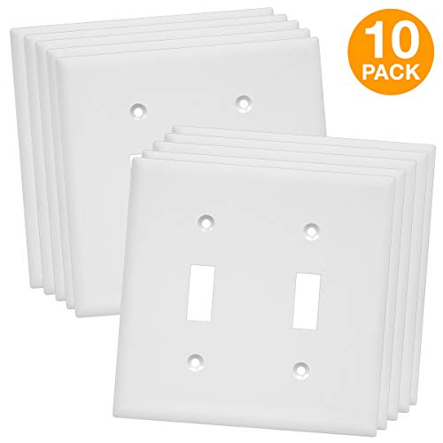 Enerlites 8812-W 2-Gang Toggle Wall Plate, Standard Size, Unbreakable Polycarbonate, White - 10 Pack