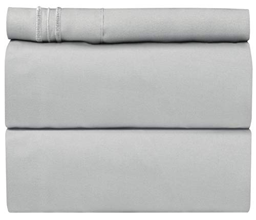 Twin Size Sheet Set - 3 Piece Set - Hotel Luxury Bed Sheets - Extra Soft - Deep Pockets - Easy Fit - Breathable & Cooling - Wrinkle Free - Comfy - Light Grey Bed Sheets - Twins Sheets - 3 PC