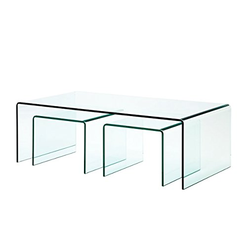 Cheap Fab Glass and Mirror 3 Piece Clear Bent 3/8″ Thick Glass Nest Tables