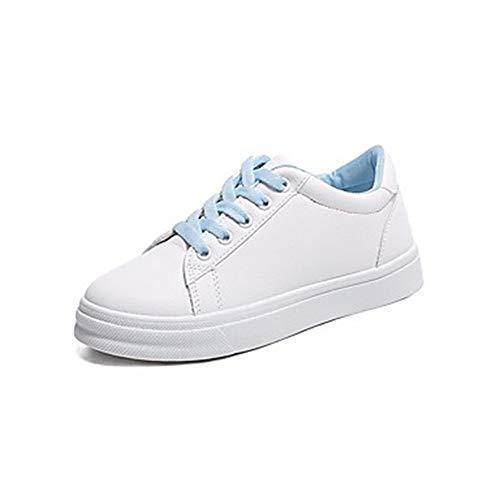 TTSHOES Mujer Zapatos PU Primavera Verano Confort Zapatillas De Deporte Tacón Plano Dedo Redondo Blanco/Azul / Rosa,Blue,US7.5/EU38/UK5.5/CN38