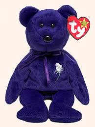 Ty Beanie Original Baby 'Princess' Purple Bear with white rose/green stem 2/Pack