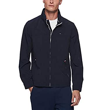 TOMMY HILFIGER Men's Stand Collar Lightweight Yachting Jacket, Navy, X-Large