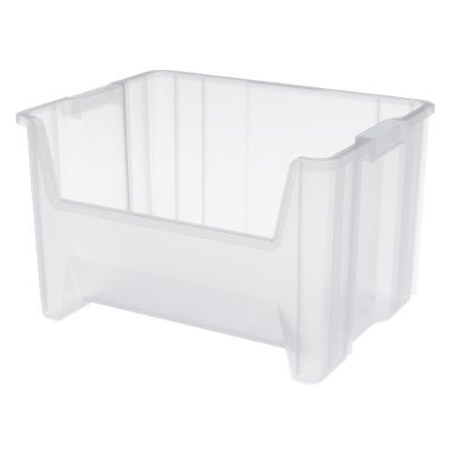 Akro-Mils 13017 Stak-N-Store Stacking Hopper Front Plastic Storage Bin, Clear, Case of 3