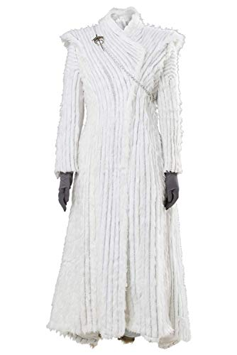 Women's Halloween Suit for Game of Thrones Season 7 E6 Daenerys Targaryen Dany Dragonstone Outfit Gown Dress (Large, Winter Snow Dress)
