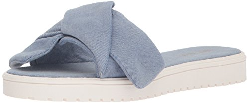 Nine West Women's Ruth Denim Flat Sandal Blue (Chambray) TClOXElj