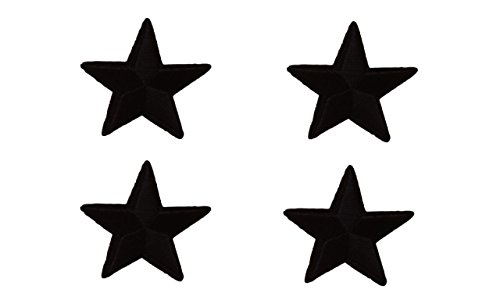(4 small pieces BLACK STAR Iron On Patch Applique Motif Fabric Children Decal 1.5 x 1.5 inches (3.8 x 3.8 cm))