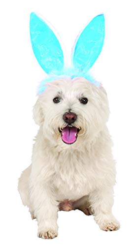 Crinkle Blue Bunny Ears Pet Headband, Medium/Large