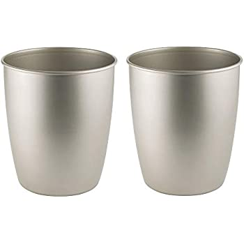 mDesign Round Metal Small Trash Can Wastebasket, Garbage Container Bin for Bathrooms, Powder Rooms, Kitchens, Home Offices - Durable Steel - 2 Pack - Satin