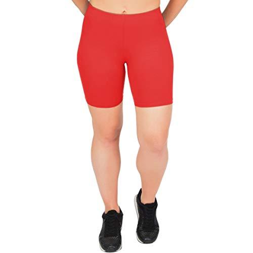 - Stretch is Comfort Girl's Cotton Bike Shorts Red Medium