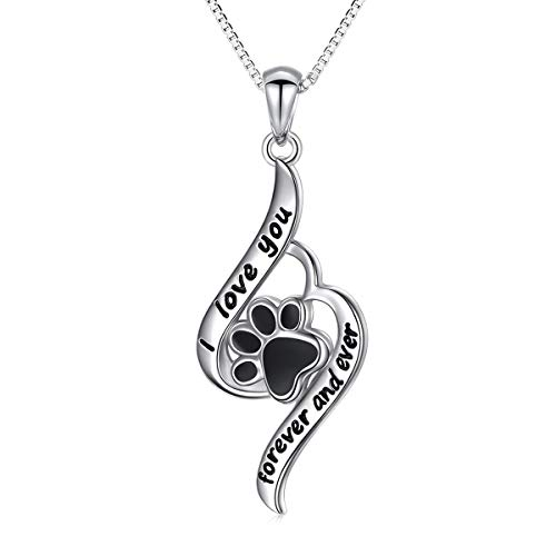 Paw Necklace Sterling Silver I Love You Forever and Ever Puppy Cat Paw Print Necklace for Women Girl