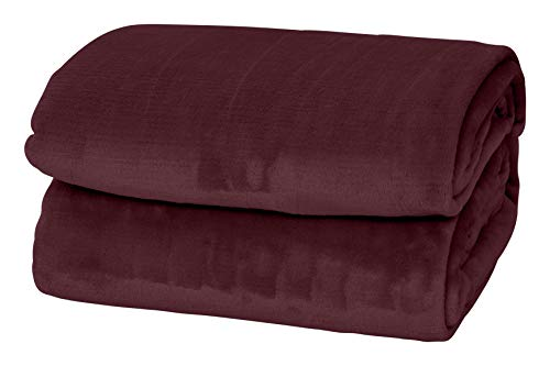Style Basics Silky Soft Thick Plush Bed Blanket (Burgundy, Queen 90 X 90)