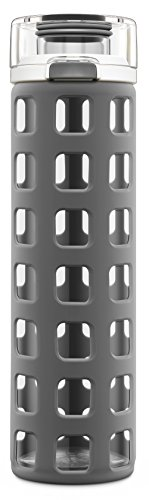 Ello Syndicate Glass Water Bottle with One-Touch Flip Lid, 20 oz, Grey