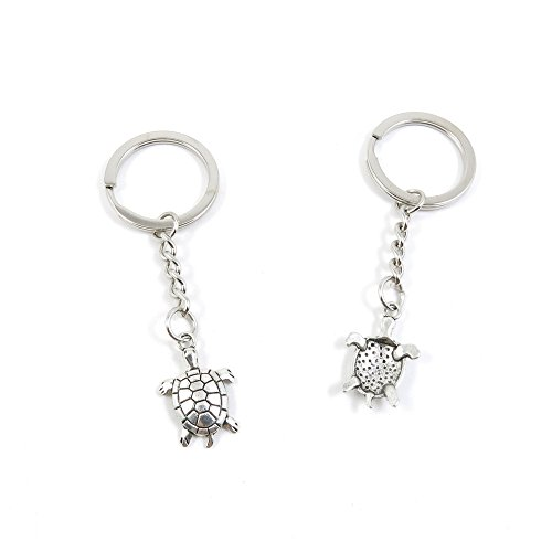 2 Pieces Keyring Keychain Keytag Key Ring Chain Tag Door Car Wholesale Jewelry Making Charms A3PX4 Turtle - Silver Tortoise