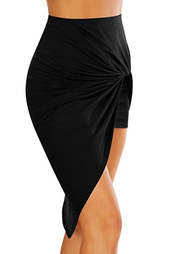 c6efb076da Simlu Womens Drape Up Stretchy Asymmetrical High Low Short Mini Bodycon  Pencil Skirt, Black,