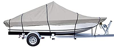 iCOVER Water Proof Heavy Duty Trailerable Boat Cover,Fits V-Hull Center Console Boat Up to 24ft Long and Beam Width up to 102in, Windshield Height up to 30in,Grey Color,B7302