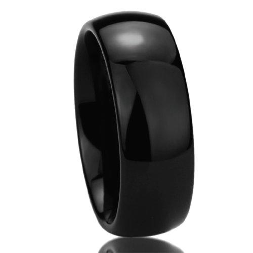 Prime Pristine Titanium Wedding Band Ring for Men & Women Black High Polished Classy Domed Ring for Men & Woman