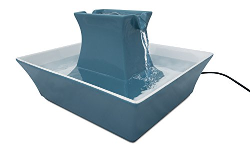 PetSafe Drinkwell Pagoda Ceramic Dog and Cat Water Fountain, Blue, 70 oz. (Dishwasher Safe Ceramic)