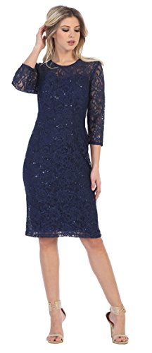 Love My Seamless Long Sleeves Womens Short Mother Of The Bride Evening Formal Lace Dress