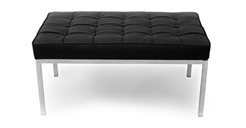 Kardiel Florence Knoll Style Bench 2 Seater, Black Genuine Leather - Sanded Loveseat