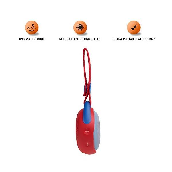 JR POP JBL - Enceinte portable pour enfants - Bluetooth & Waterproof - Avec modes lumineux multicolores & autocollants - Autonomie 5 hrs - Rouge 3
