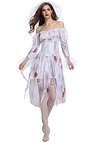(Women's Halloween Ghost Bride Costumes Hell's Goddess Zombie Cosplay White)