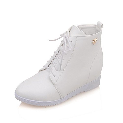 Round Solid Toe Allhqfashion Heels White Boots Closed with Zipper Women's Metal Nail High IYqqanwFS