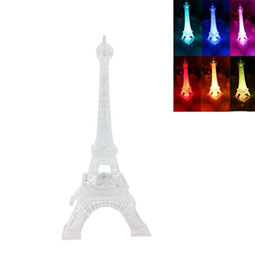 DreamsEden 3 LEDs Light Up Eiffel Tower Lamp - Color Changing Paris Decor for Bedroom Desk Cake Topper Centerpiece, 9.8 Inch Height -