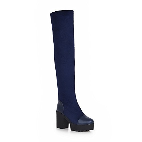 VogueZone009 Damen Rund Zehe Knöchel Hohe Hoher Absatz Rein Blend-Materialien Stiefel, Blau, 37