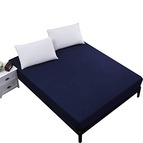 FORCHEER Queen Mattress Protector Waterproof Fitted Sheet with Elastic Band Deep Pocket Bed-Bugs Navy Blue