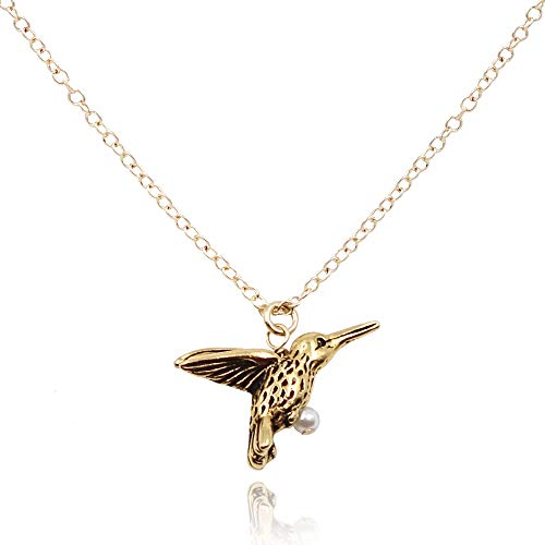 MaeMae Hummingbird Pendant Necklace, 14K Gold Filled Chain, 16-18