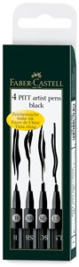 Faber Castel Art and Graphic, Pitt Artists Pens, Set of 4 Assorted Nibs (SB, SC, 1.5, B), Black (FC167139)