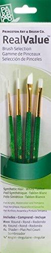 Princeton Art & Brush Real Value Brush Set, Round Size 3/0 and 3, Shader Size 4, Angle Size 1/4, White ()