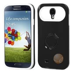 MYBAT Black/White Back Protector Cover (with Ring Stand) compatible with Samsung Galaxy S 4