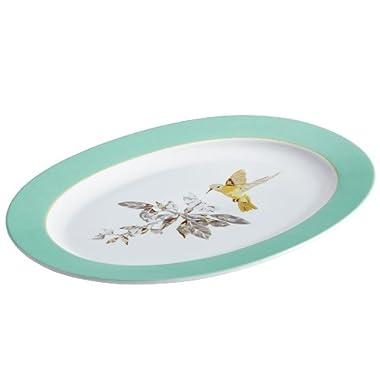 BonJour Dinnerware Fruitful Nectar Porcelain 10-Inch by 14-Inch Oval Platter