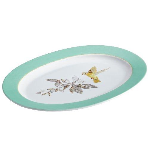 BonJour Dinnerware Fruitful Nectar Porcelain 10-Inch by 14-Inch Oval Platter, Print