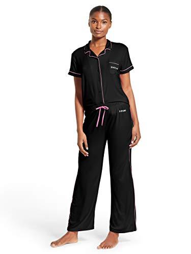 Plus Size Bebe (bebe Womens Button Down Shirt and Pajama Pants Lounge Sleep Set Plus Size Black)