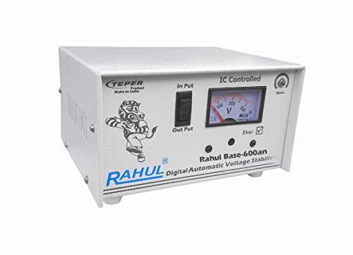"""Rahul Base-600an 600VA 140-280 Volt,3 Booster 1 LCD/LED TV, Smart TV, Android TV Up to 65""""+DTH/Refrigerator Up to 195 LTR,Use a Maximum of 2 Amp Load This Automatic Voltage Stabilizer 2021 August 2 Amp/600 VA Automatic 3 Booster Stabilizer Input Power (V)-140-280 Volt"""