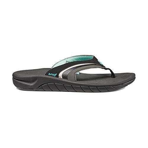 Reef Women's Sandals Slap 3   Athletic Sports Flip Flops For Women With Soft Cushion Footbed   Waterproof, Black/Black/Aqua, 6