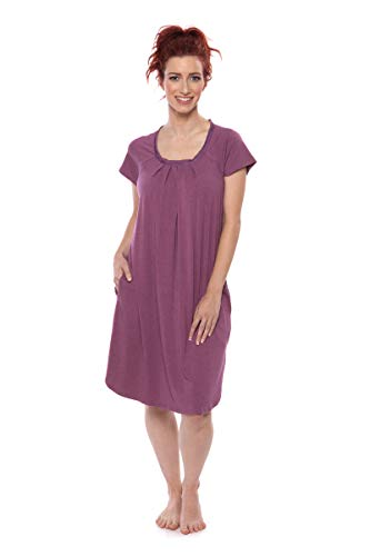 Women's Cap Sleeve Nightgown - Bamboo Viscose Sleepwear by Texere (Slumberous, Heather Plum, Large) Soft Short Sleeve Nightgown for Her TX-WB040-005-26R1-R-L