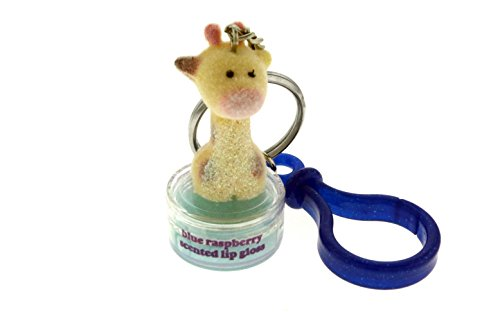 Raspberry Giraffe - WhiteFlocked Giraffe Topper Blue Raspberry Scented Lip Gloss With Glittery Blue Plastic Clip And Trigger Snap Key Chain KEKC5138